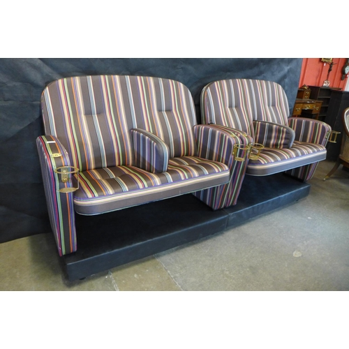 200 - Two Sir Paul Smith Broadway Cinema love seats, 94cms h, 116cms w, 71cms d  Personally designed by Si...