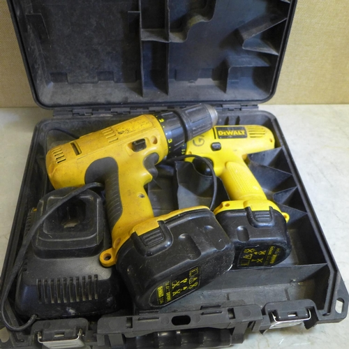 2031 - 2 Dewalt drills - 14.4v and 12v - with charger and a/f batteries - in case...
