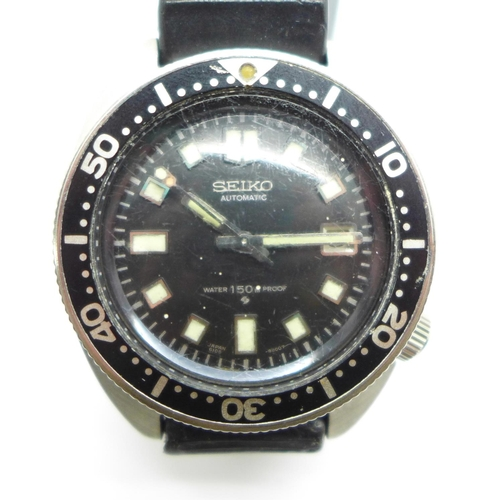 1009 - A 1970 Seiko automatic diver's wristwatch, '150m water proof', 6105-8000, the case back numbered 024...