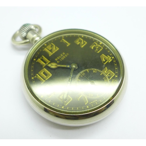 1023 - A Rolex military issue pocket watch, A10958 marked on the dial, case back and bottom edge of the cas...