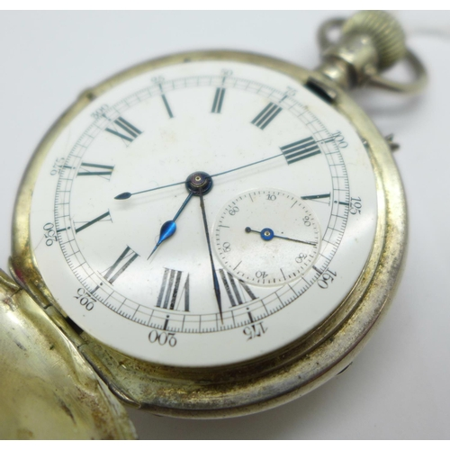 1025 - A silver top wind full hunter pocket watch, a/f, the movement marked 'Patented 20 Feb, 1883'...