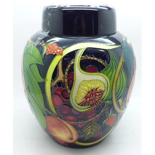 602 - A large Moorcroft ginger jar and cover, 21cm high, in the Queen's Choice pattern, designed by Emma B...