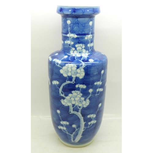 613 - A 19th Century Chinese blue and white vase, Kangxi four character mark to base, 25.5cm...