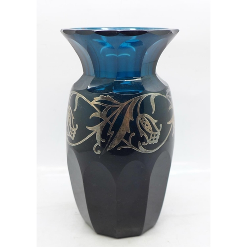 616 - An Art Nouveau teal glass vase decorated with silver overlay, 16cm, a/f (chip to rim and some overla...