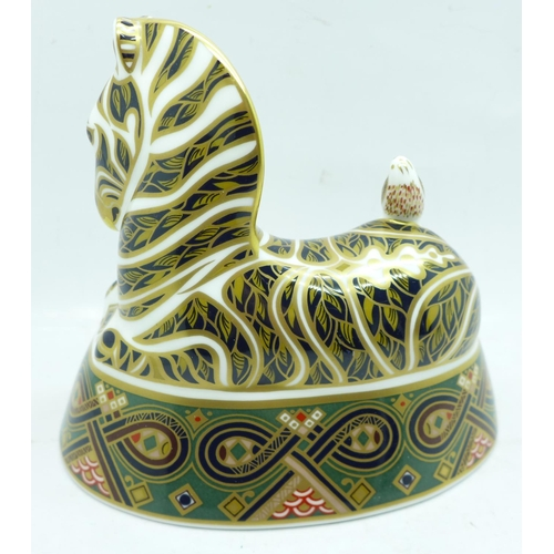 623 - A Royal Crown Derby zebra paperweight with gold stopper, boxed...