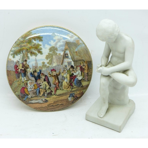 626 - A Prattware pot lid, The Village Wedding, and a parian figure, a/f...