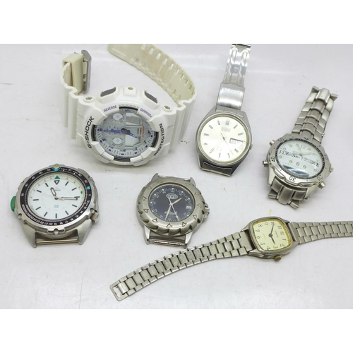 630 - Six wristwatches including Seiko...