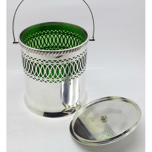 631 - A Mappin & Webb silver plated ice bucket with green glass liner, 13cm...