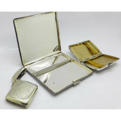641 - Two plated machine turned cigarette cases, the larger in the Aristocrat pattern by Harman Brothers, ...
