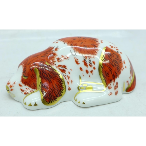 653 - A Royal Crown Derby Collector's Guild Puppy paperweight, gold stopper, boxed...