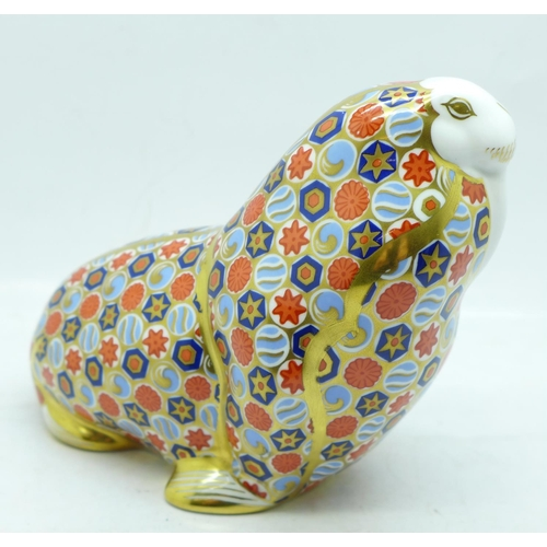 654 - A Royal Crown Derby Papbox Russian Walrus paperweight, gold stopper, 10.5cm, boxed...