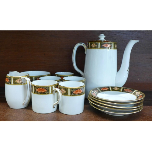 661 - An Allertons six setting coffee set, lacking one saucer, sugar bowl a/f...