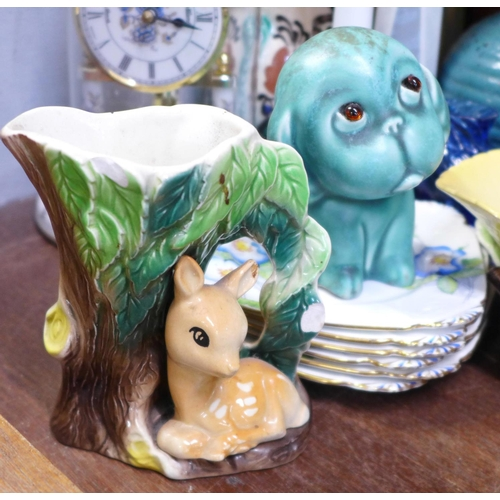 664 - Beswick, Wedgwood, Watcombe Torquay Pottery, Coalport, Royal Crown Derby and other china, a blue gla...