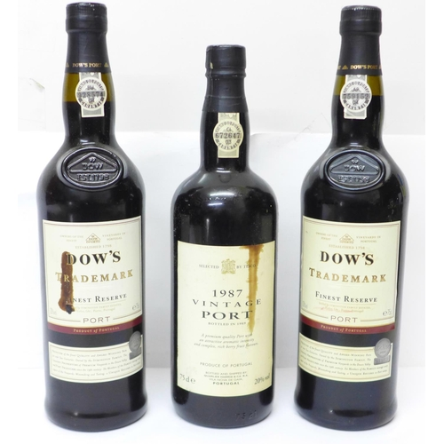 779 - Three bottles of port, 2 x Dow's Trademark Finest Reserve and Tesco 1987 Vintage Port...