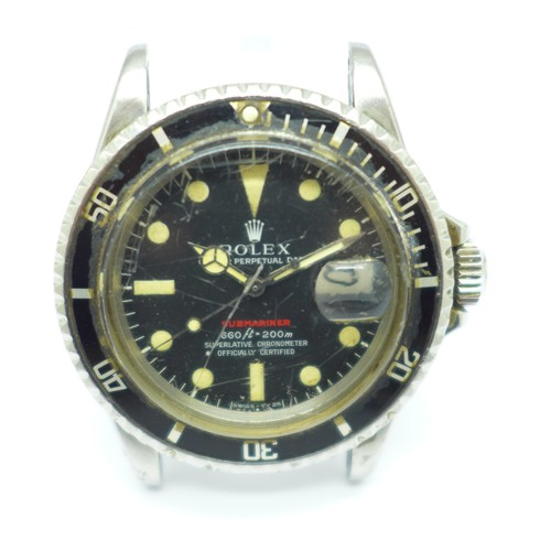 1024 - A Rolex Oyster Perpetual Date 'single red' Submariner  wristwatch, Submariner in red writing, 1680, ...
