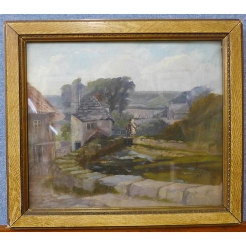 10 - English School, Derbyshire river landscape, oil on canvas, unsigned, 30 x 35cms, framed...