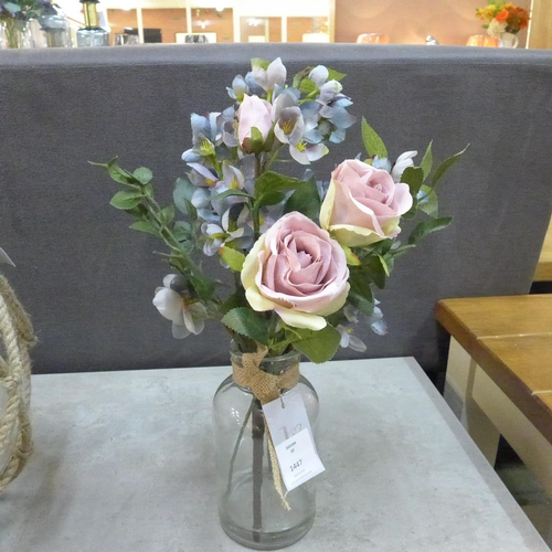 1344 - A dusky pink and blue mixed arrangement in a glass vase (5061708)   #...