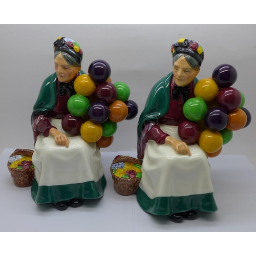 601 - Two Royal Doulton figures, The Old Balloon Seller...