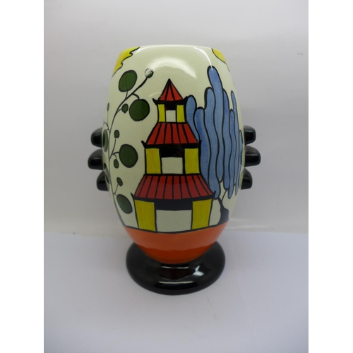 612 - A Lorna Bailey Pagoda Garden vase for Old Ellgreave Pottery, 19cm...