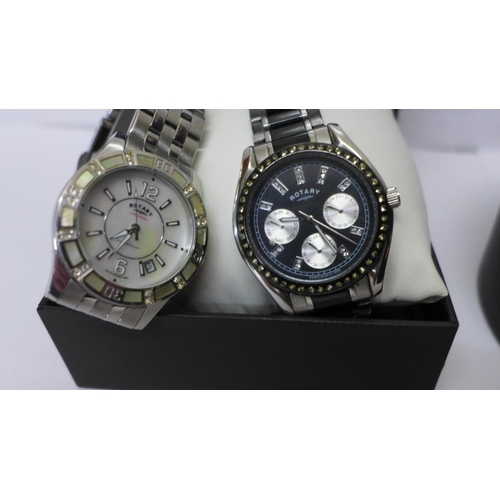 626 - A Timex wristwatch and two Rotary wristwatches, (Accurist box)...