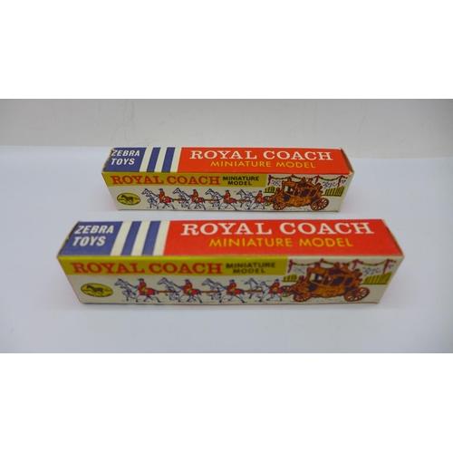 629 - Two Zebra Toys miniature Royal Coach models, boxed...