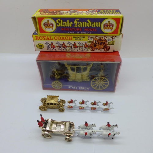 630 - A Zebra Toys Royal Coach, a Qualitoy Benbros State Landau and a Crescent Toys State Coach 1977, all ...
