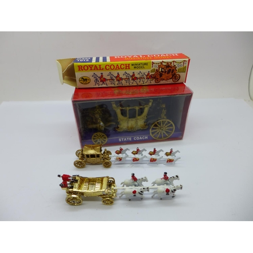632 - A Zebra Toys Royal Coach, a Qualitoy Benbros State Landau and a Crescent Toys State Coach 1977, (3),...