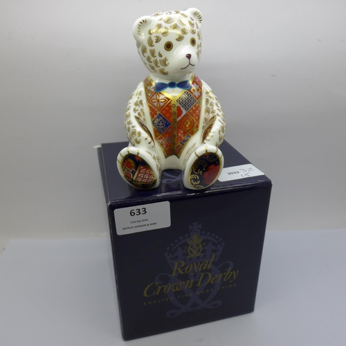 633 - A Royal Crown Derby Teddy bear paperweight with box, 12cm...