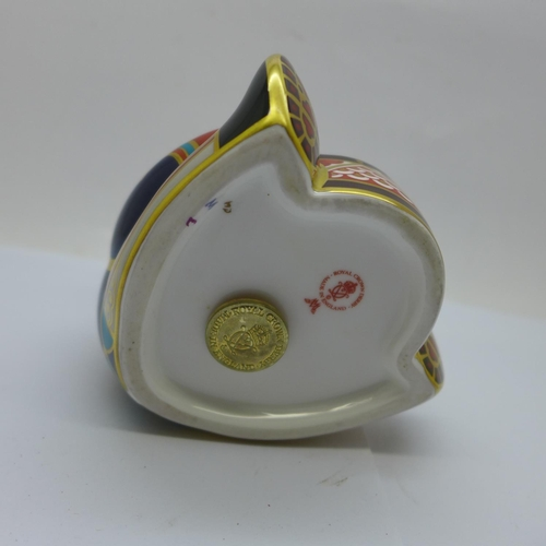 634 - A Royal Crown Derby paperweight, Teddy Bear Drummer, with double M monogram to the base, with gold s...