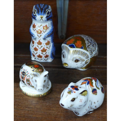 637 - Four Royal Crown Derby paperweights, Chipmunk, Bank Vole, Hawthorn Hedgehog and Imari Pig, all with ...
