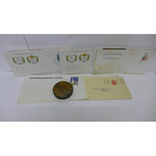 648 - A papier-mache circular box, a/f, and seventeen first day covers...