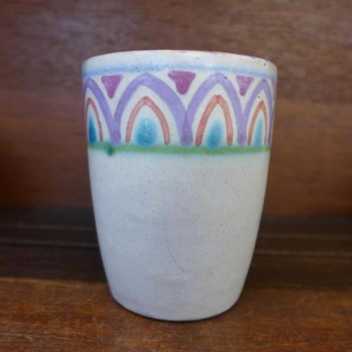 650 - Honiton Pottery, a 1930's Collard beaker, 10cm, a/f...
