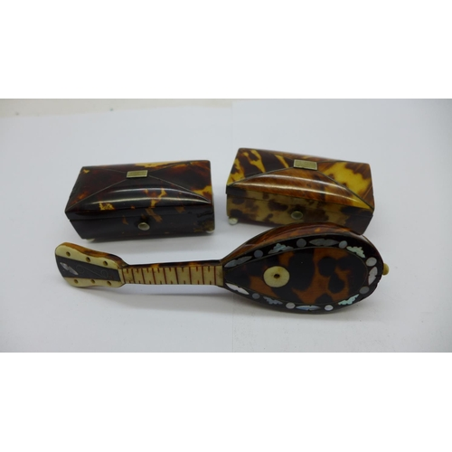 655 - Two small caddy shaped tortoiseshell mounted boxes and a novelty miniature mandolin mounted with tor...