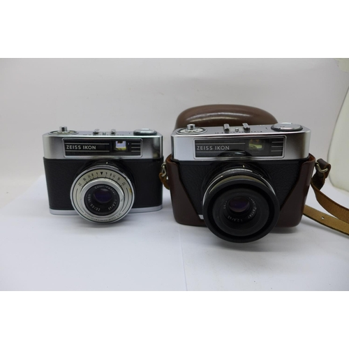 664 - Two Zeiss Ikon Contina LK cameras, one with case...
