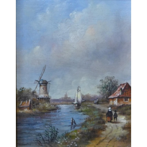 1 - Dutch School,  two rural landscapes, oil on board, 11cms x 10cms and 8cms x 11cms, framed...