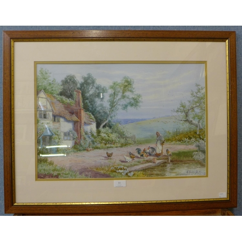 11 - H. Hammond, cottage landscape with figure and chickens, watercolour, dated 1906, 36cms x 54cms,  fra...