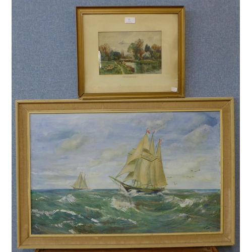 13 - A marine landscape, oil on panel, indistinctly signed and The Old Weir House, watercolour, unsigned,...