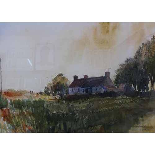 14 - Stuart Atkinson, coastal landscape, watercolour and cottage in the forest, Guernsey, 36cms x 57cms a...