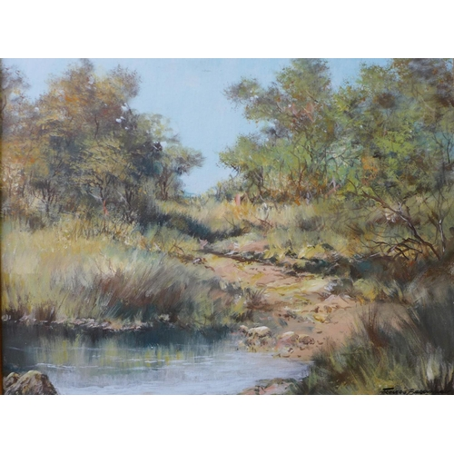 15 - Francois Badenhorst, South African landscape, oil on canvas, watercolour and gouache and watercolour...
