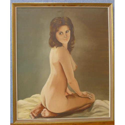 18 - A portrait of a kneeling female nude, oil on canvas, unsigned, 54cms x 45cms, framed...