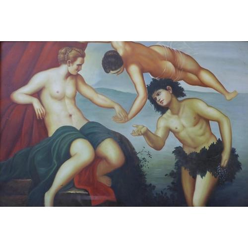 19 - A classical scene, oil on canvas, unsigned, 59cms x 89cms, framed...