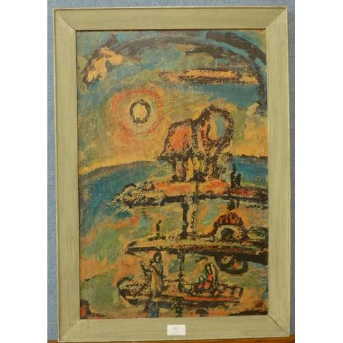 22 - A 1970's Georges Rouault print, Nocturne Chretien, 61cms x 40cms, framed...