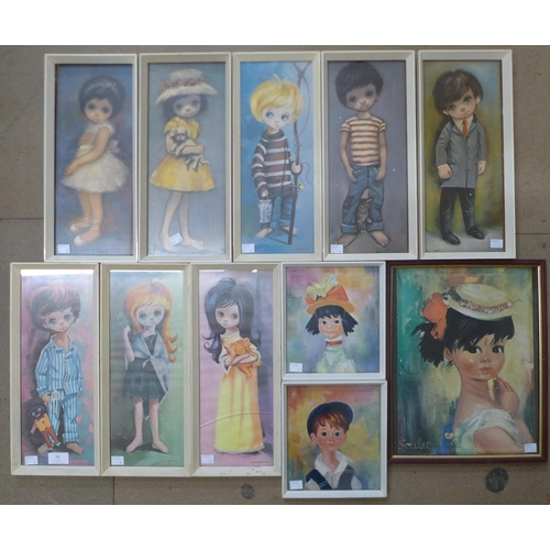 26 - A set of eight 1960's prints of children and three others...