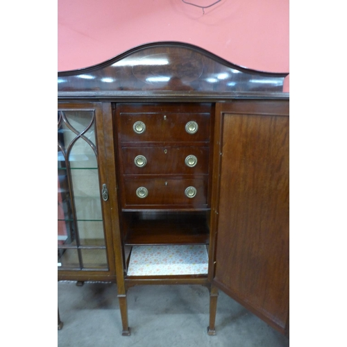 48 - An Edward VII mahogany fitted breakfront side cabinet...