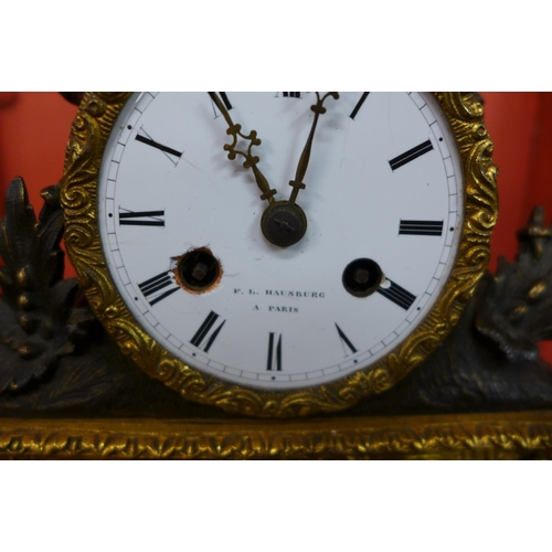 53 - A 19th Century French ormolu mantel clock, dial signed F.L. Hausbury, Paris...