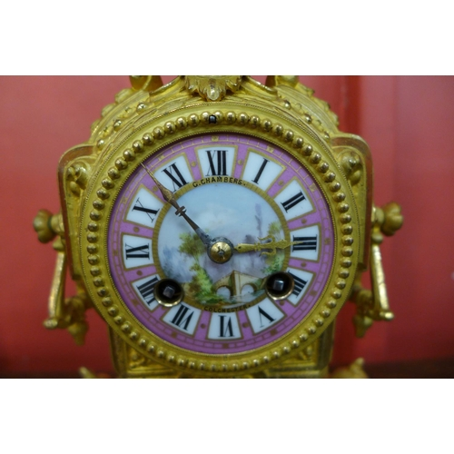 54 - A 19th Century French Japy Freres gilt metal mantel clock, the enamelled dial signed by retailer G. ...