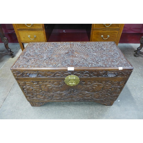 72 - An eastern carved hardwood blanket box...