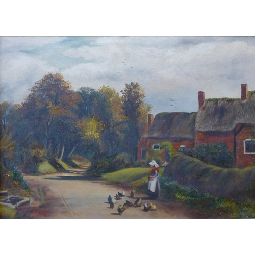 9 - J. Archer, rural landscape with figure and chickens, oil on canvas, dated 1903 and another landscape...