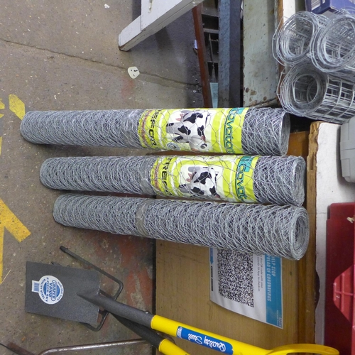 2060 - 3 x 10mtr rolls of wire netting - 30 mtrs. in total * this lot is subject to vat...