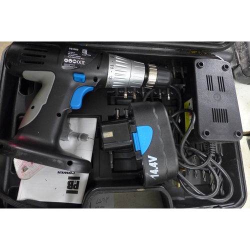 2026 - PB 14.4v drill with battery and charger - in case - W...